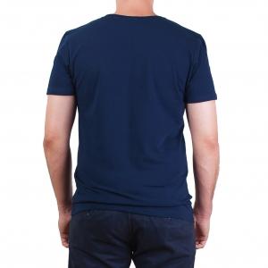 Koszulka POLSKY Basic Flaga Slim Fit O - Granatowa