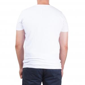 Koszulka POLSKY Basic Flaga Slim Fit V - Biała