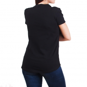 Koszulka POLSKY Typo Z Przedłużanym Tyłem - Czarna